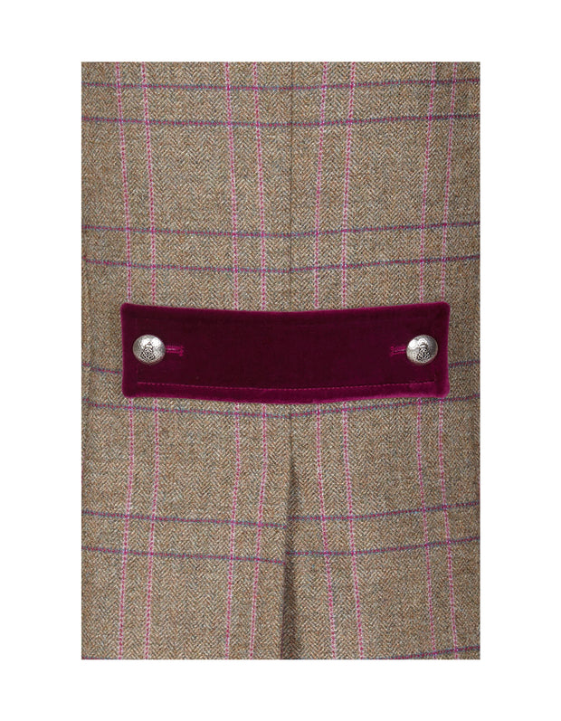 Velvet tab and button detail on Windsor pink check tweed jacket