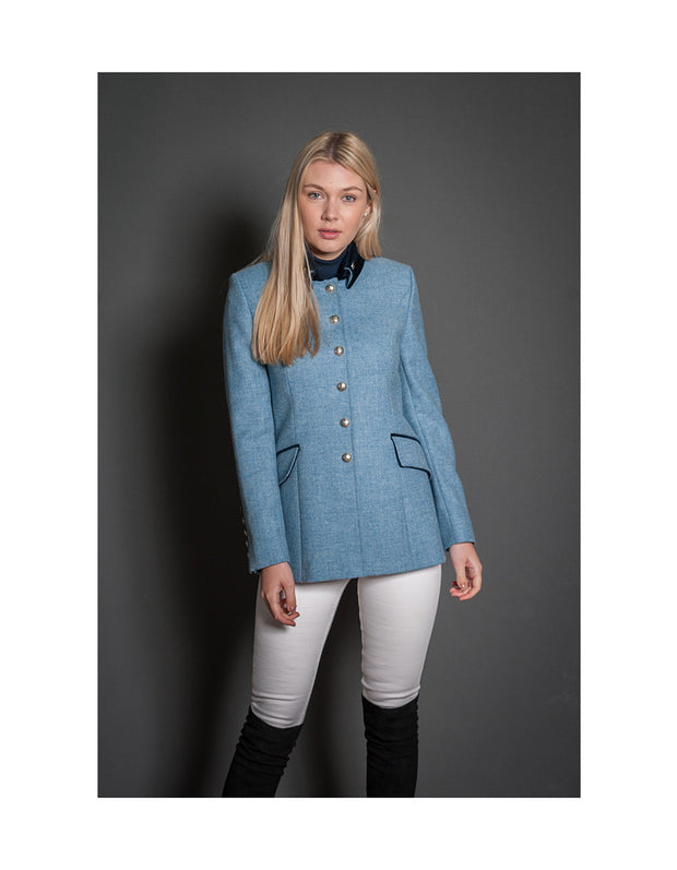 Ladies tweed show jacket in light blue herringbone with velvet trims