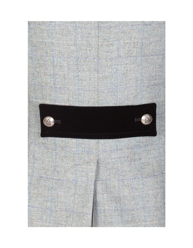 Navy velvet back tab detail on Windsor pale green tweed tailored jacket