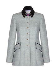 Womens tailored tweed jacket in light green wool with velvet collar