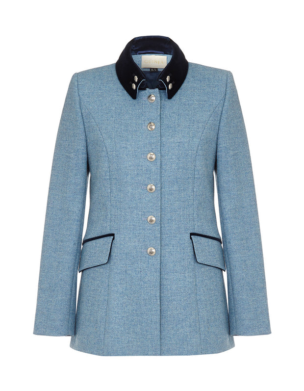 Light blue womens tweed jacket with military style buttons and velvet trims