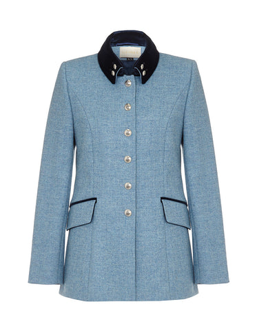 Windsor Tweed Jacket - Sky Blue Herringbone
