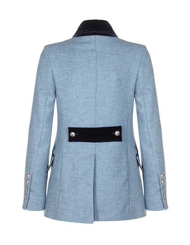 Light blue ladies tweed jacket with velvet back tab detail and tailored jacket shaping