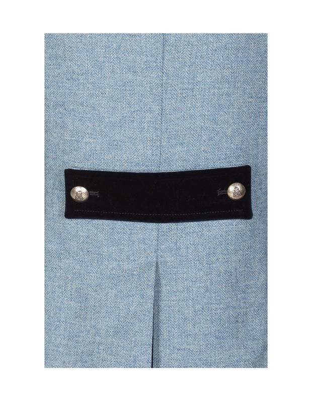 Light blue ladies tweed jacket detailing, with velvet back tab and buttons on pale blue British tweed