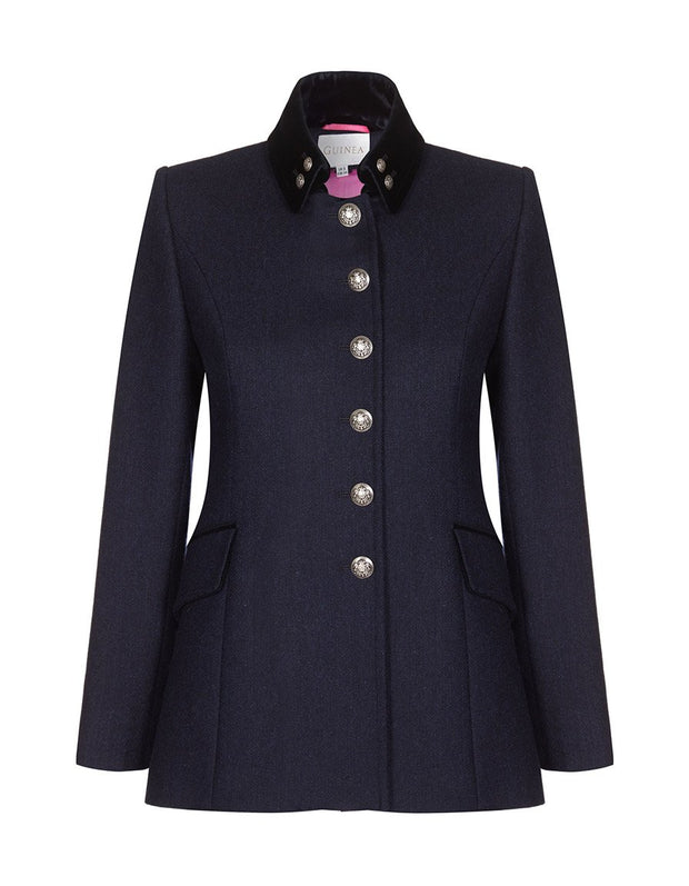 Navy wool ladies tweed jacket with silver buttons