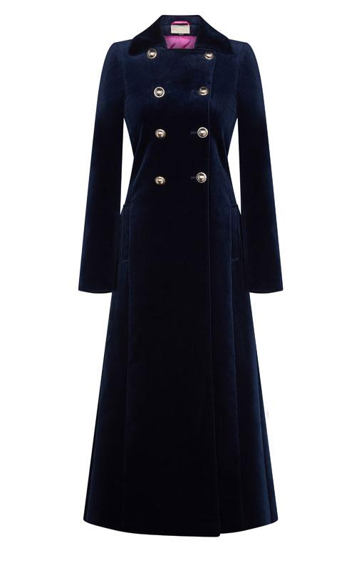 Electra Navy Velvet Coat - 30% OFF