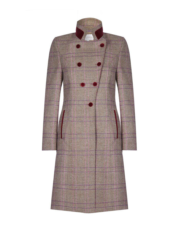 Women's tweed coat in Rose Check wool with double breasted fit and velvet trim