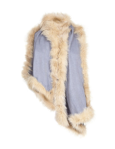 Cashmere and Wool Fur Trimmed Wrap - Pale Blue