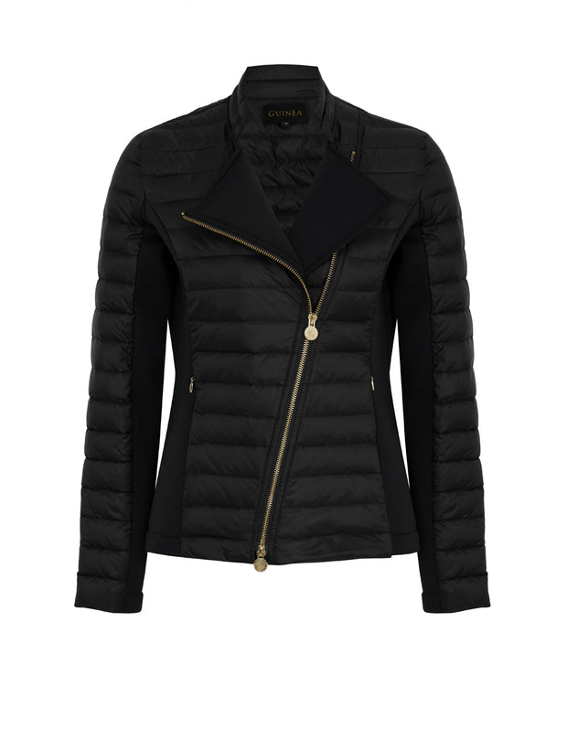 Roxie Black Puffer Biker Jacket