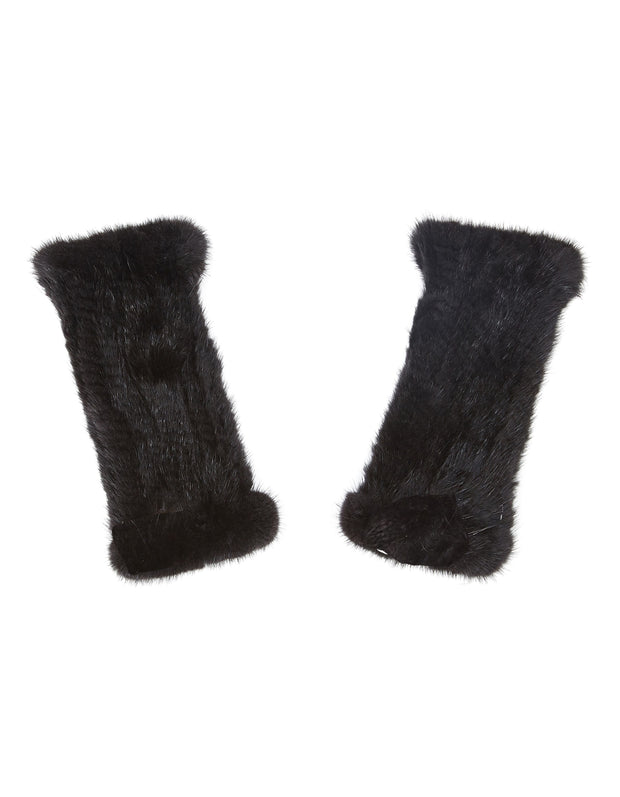 Fur fingerless gloves in black real mink fur, to also wear as fur wrist warmers