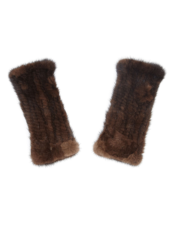 Fur fingerless gloves in real mink fur, in chocolate brown, also to wear as fur wrist warmers