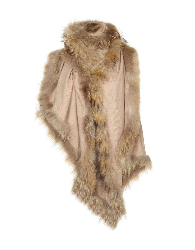 Fur trimmed wrap for winter wedding, in camel cashmere wool with beige fur trim