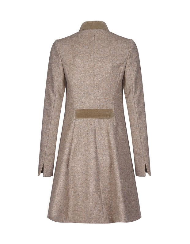 Ladies fit and flare beige wool tweed coat with velvet collar
