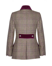 Ladies tweed jacket in pink check wool tweed with velvet trims and collar