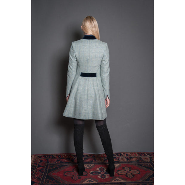 Womens tweed coat in light mint green wool with navy velvet trim