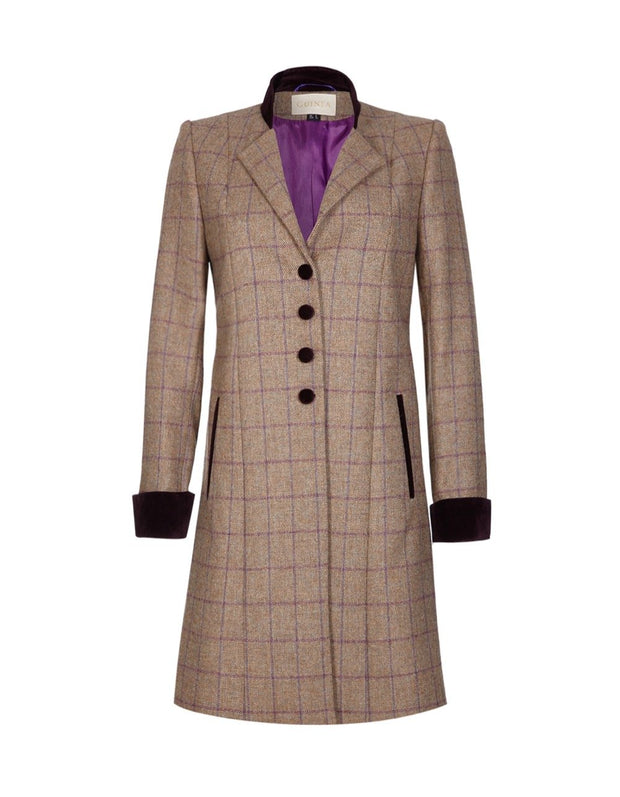 Womens tweed coat in purple and beige wool with velvet collar