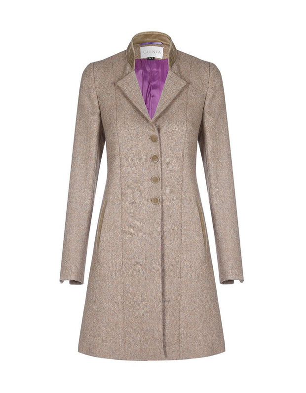 Womens tweed coat in beige wool with velvet collar and trims