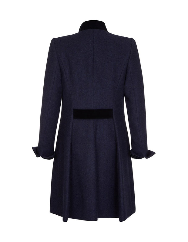 Ladies navy wool coat with fit and flare cut, in British tweed with velvet trims
