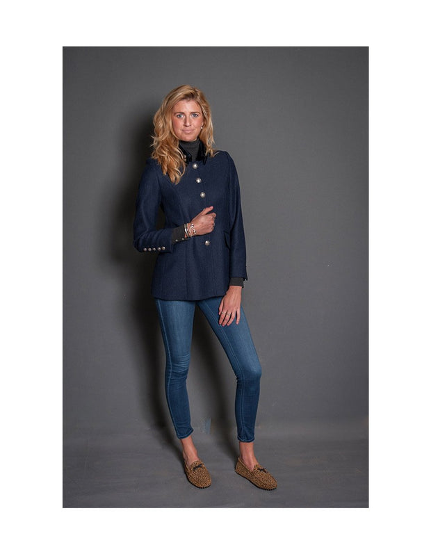 Ladies tweed jacket in navy British wool tweed, worn with jeans