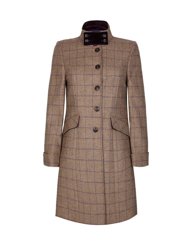 Women's tweed coat in purple check wool with velvet collar
