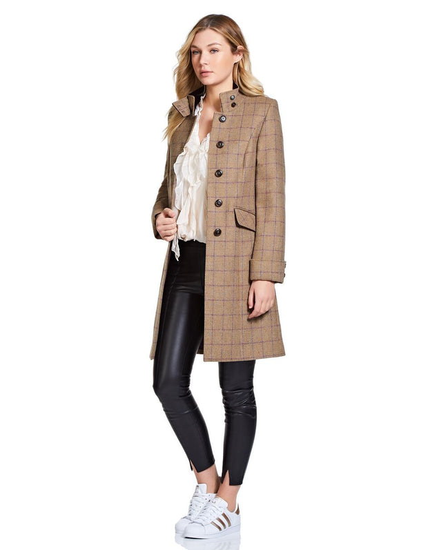 Burghley Wool Coat - Plum Check - 30% OFF