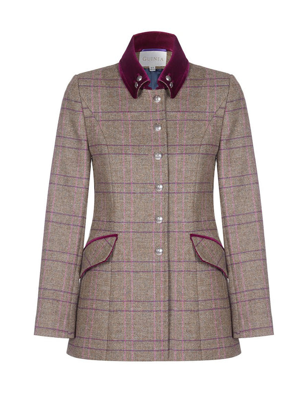 Womens pink tweed jacket with velvet trims, in pink check tweed