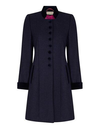 navy wool and velvet dress coat with velvet buttons and nehru collar