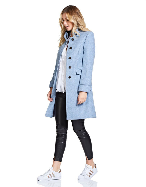 Womens pale blue wool coat in herringbone tweed with velvet collar and elegant, fitted cut