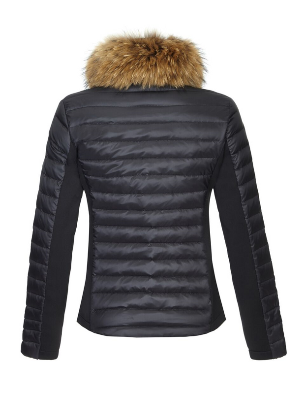 black puffer with fur collar trim and flattering side stretch panels