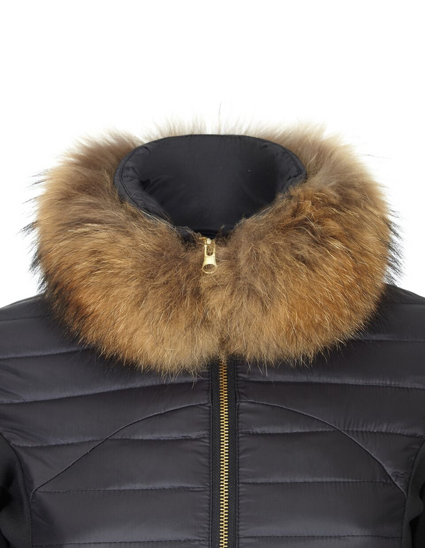 Fur collar detail on women's black puffer jacket with lightweight down filling