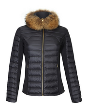 Women's black lightweight down puffer jacket with fur collar, fitted style