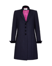 Womens navy wool coat in British tweed with navy velvet trims