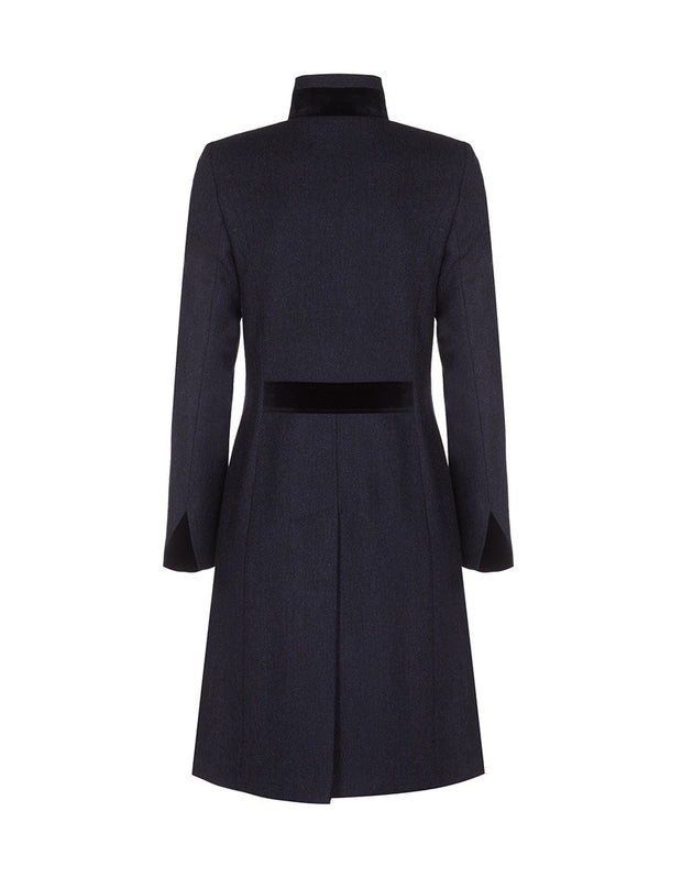 Women's navy blue wool coat with velvet trim, in navy tweed wool