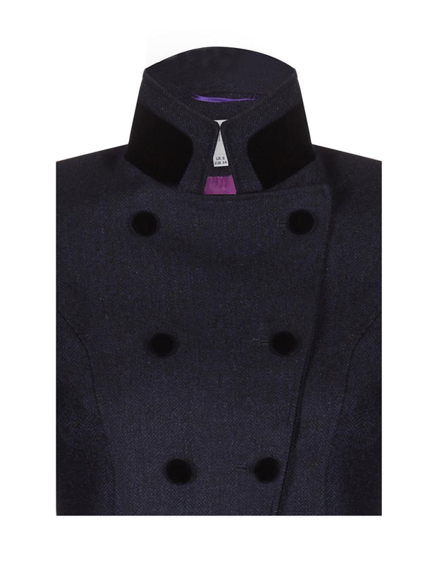 Women's navy wool tweed coat with velvet collar and buttons with double breasted cut