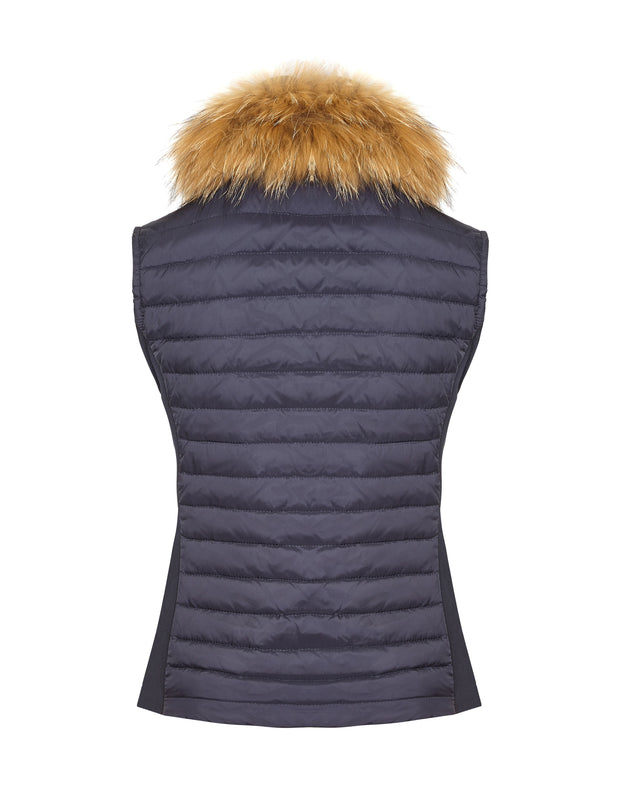 Ladies navy puffer gilet with fur and lightweight down filling