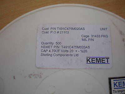 Tantalum capacitor 4.70uf 1 full reel 500pcs made by Kemet T491C475M020AS