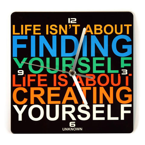 LIFE IS NOT ABOUT FINDING - שעון קיר מעץ