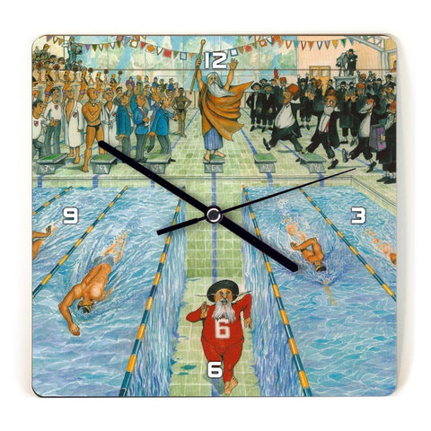 Martin Holt Swimming Wooden Wall Clock