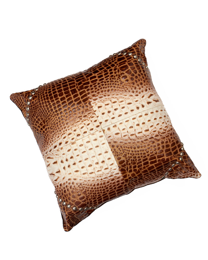 Multi-Croc Studded Throw Pillow
