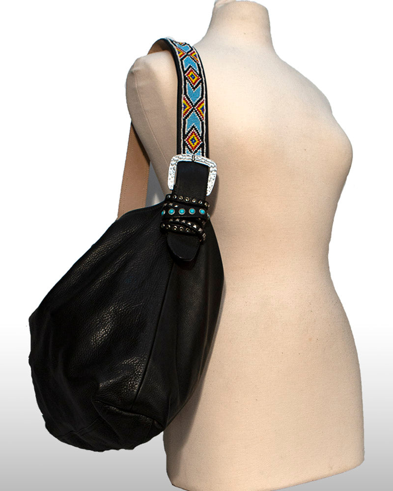Black Genuine leather handbag manufactured in the USA with Hand beaded strap