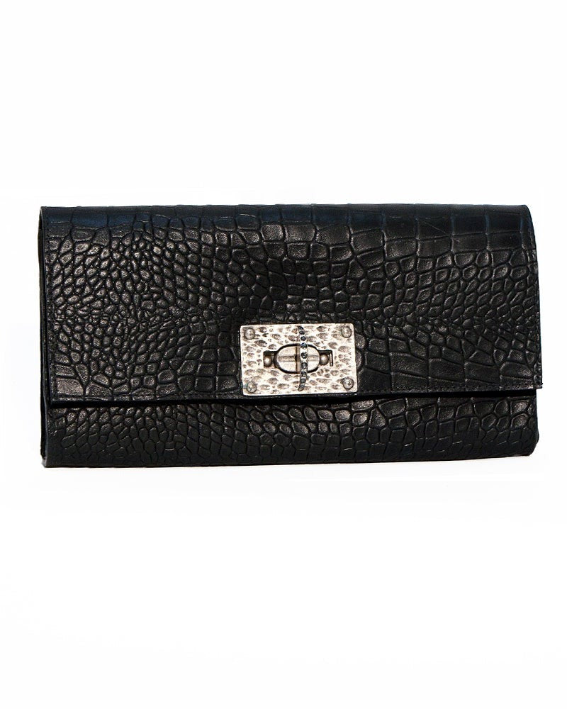 Gray Croc-Embossed Clutch