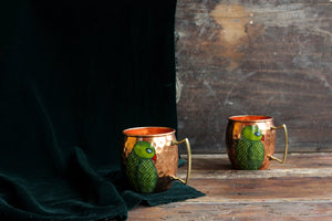 Handpainted parrot copper mug