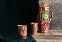 Load image into Gallery viewer, Handpainted parrot and bougainvillea copper glass (set of 2)