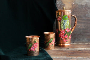 Handpainted parrot and bougainvillea copper glass (set of 2)