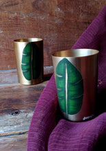Load image into Gallery viewer, Handpainted Banana leaf kansa glass . Set of 2