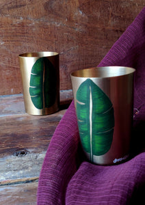 Handpainted Banana leaf kansa glass . Set of 2