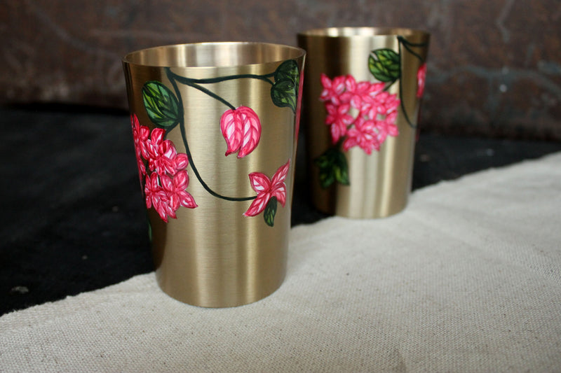 Hand Painted Bougainvillea Kansa Glass (set of 2)
