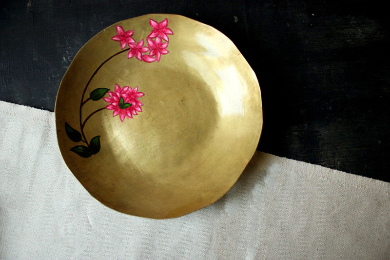 Hand Painted Bougainvillea Brass Small Plate