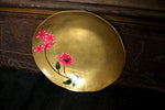 Hand Painted Bougainvillea Brass Small Plate (set of 2)