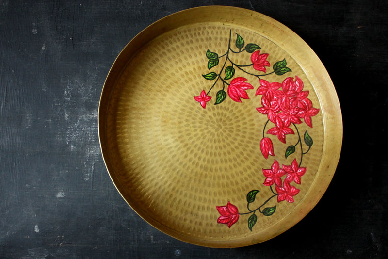 Hand Painted Bougainvillea Large Tray